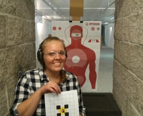 Miriam at the shooting range
